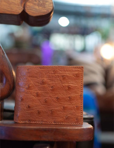 brown-ostrich-leather-wallet
